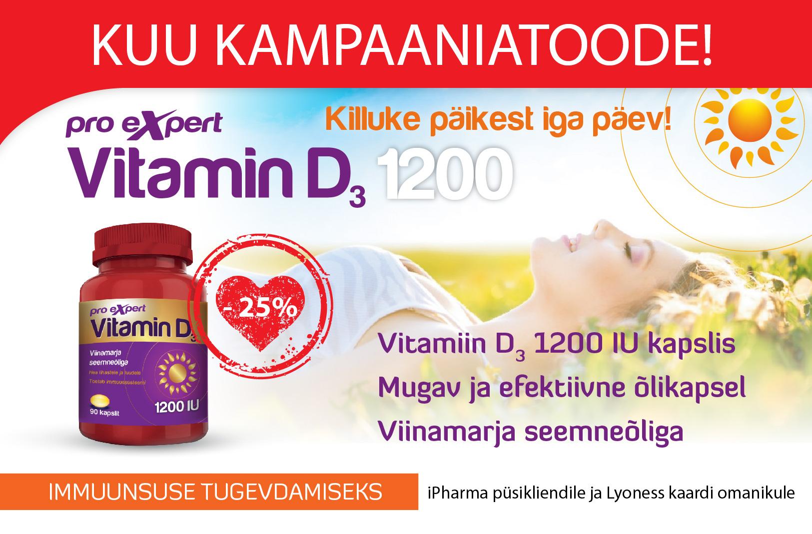 Vitamiin D3 Pro Expert 1200 IU õlikapslid N90