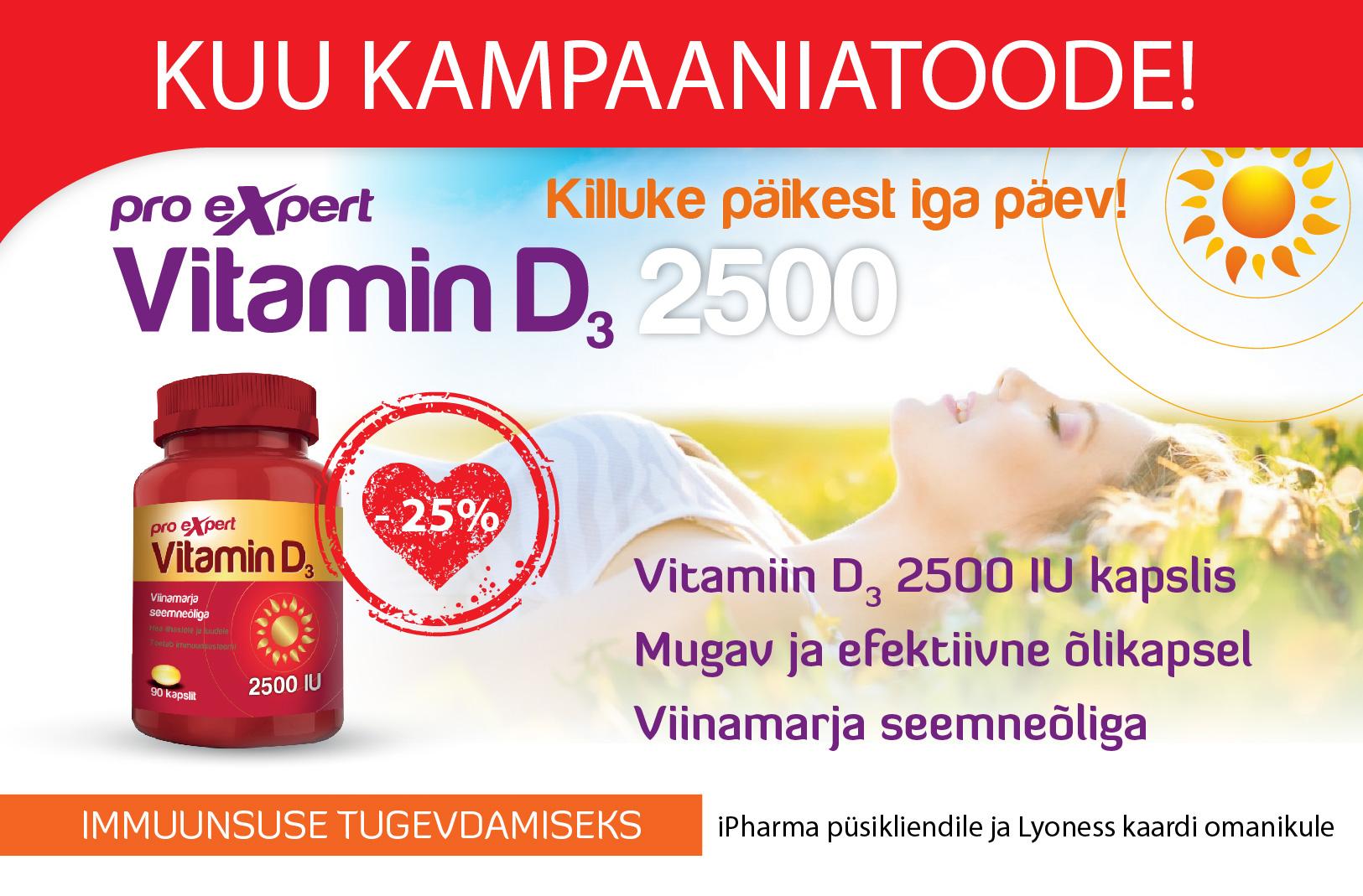 Vitamin D3 Pro Expert 2500 IU õlikapslid N90