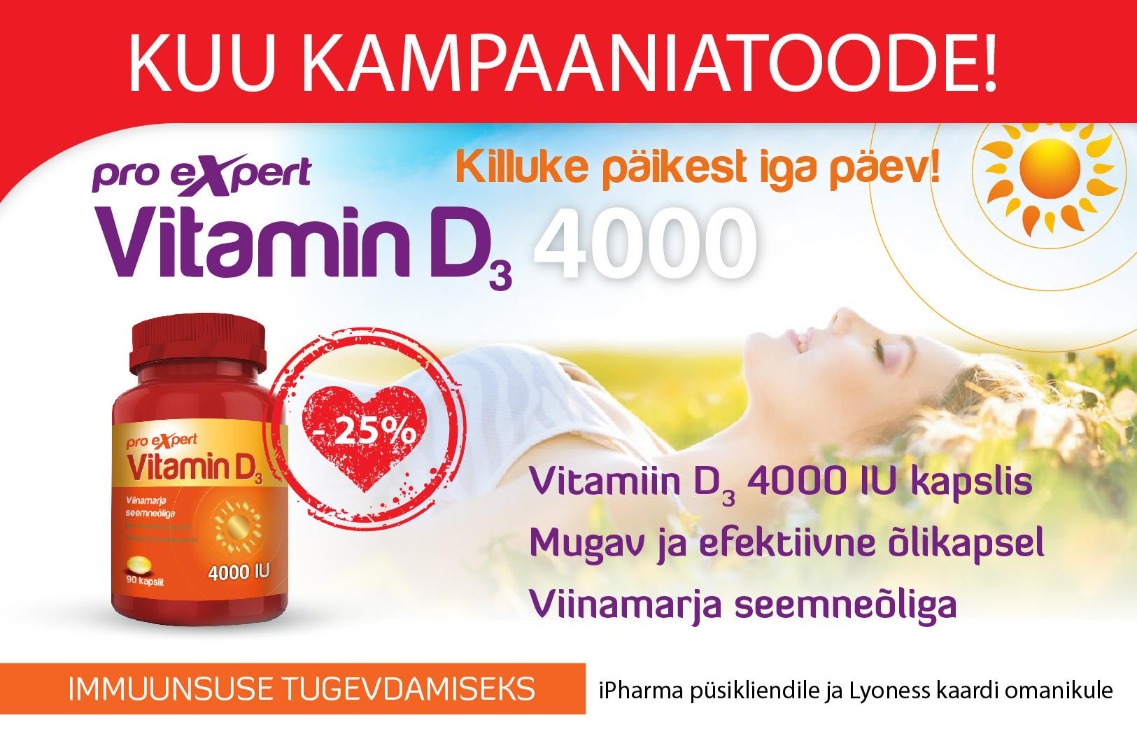 Vitamin D3 Pro Expert 4000 IU õlikapslid N90